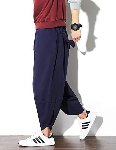 Poches Zhhlinyuan Hommes Pantalon Grande À Respirant Taille De Sarouel Pour Et Patchwork Bleu Trousers Avec Élastique Décontracté qPZrq