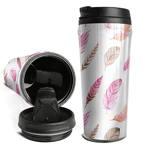 (Ods Jdsd Coffee Cup Travel Mug Pink Brown Pigeon Duck Bird Feather Thermo Flask Great for Travel)