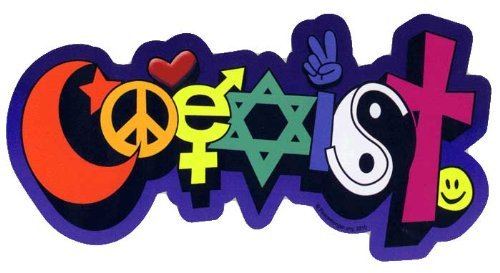 Coexist Hippie, Happy, Peace Sticker with a Funky Shape