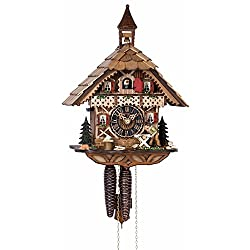 1 Day Chalet Black Forest Cuckoo Clock with Bell Tower and Woodsman by Hönes