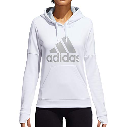 adidas Womens Team Issue Fleece Pullover Logo Hoodie, White/Clear Onix, X-Large