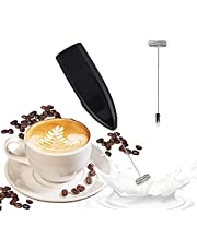 Milk Frother, Handheld Electric Milk Foam Maker, Stainless Steel Drink Mixer, Steel Whisk Egg Beater Mini Blender, Milk Frother Handheld for Hot Chocolate, Bulletproof Coffee, Latte Cappuccino (Black)