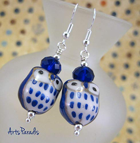 Dark Blue and White Ceramic Hoot Owl with Crystal Dangle Earrings by ArtsParadis