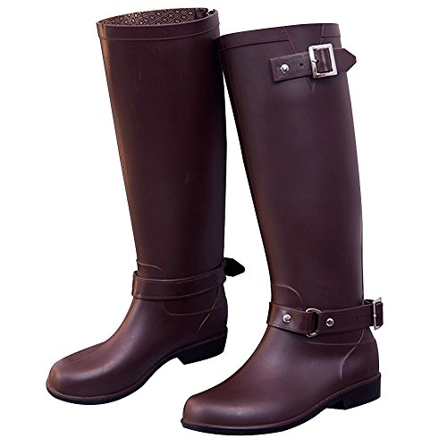 rismart Womens Knee High Winter Warm Wellington Waterproof Snow Rain Boots Coffee tvd8gC