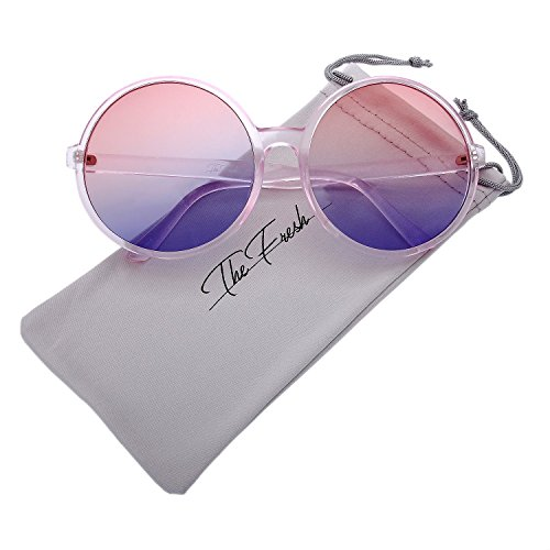 The Fresh Retro Chunky Frame Ocean Colored Lens Oversized Round Sunglasses (2-Crystal Pink, - Sunglasses Pink Colored