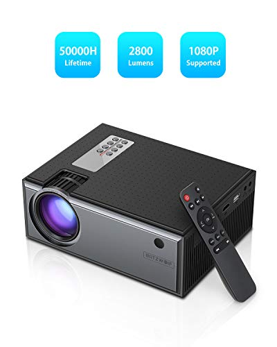 Video Projector, BlitzWolf Upgrade HD LCD Mini Projector Support 1080P 2800 Lumens, Portable Home Theater Movie Projector with Remote, Compatible with TV Box, PS4, HDMI, VGA, AV, USB, Laptop, DVD