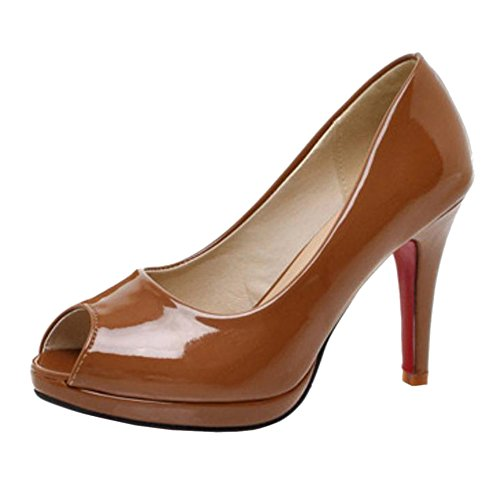 TAOFFEN Women's High Heel Slip On Court Shoes Yellow AgVWgdI7J3