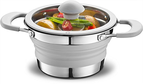 Gourmia GCP9935 1qt Collapsible Pot – Stainless Steel, Silicone and Glass Lid – For Gas and Electric Stove Cooking – Great for Outdoors, Hiking, Camping, Traveling – BPA Free Review