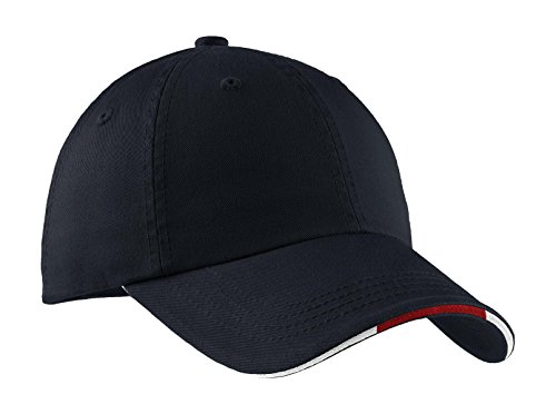 Sandwich Unstructured Cap - Port Authority Men's Sandwich Bill Cap with OSFA Classic Navy/ Red/ White