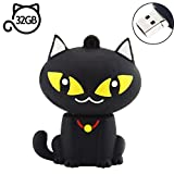 AreTop Flash Drive 32GB, Pen Drive USB2.0 Cute Cartoon Miniature Black Cat Shap Memory Stick Swivel Thumb Drives for Date Storage Gift for School Students Kids Children Teacher Collegue Employees