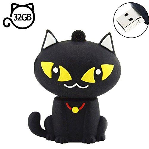 AreTop Flash Drive 32GB, Pen Drive USB2.0 Cute Cartoon Miniature Black Cat Shap Memory Stick Swivel Thumb Drives for Date Storage Gift for School Students Kids Children Teacher Collegue Employees