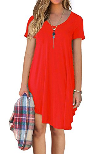 Short Sleeve Women's Red Tunic Short Sleeve T Shirt Casual DEARCASE Loose Dress HzwqxdEHP