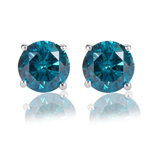 1/2 Carat Blue Diamond Solitaire Screw Back Stud Earrings Pair in 14k White Gold