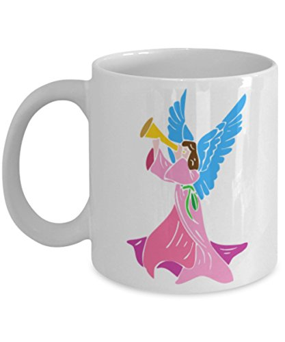 Angel Blowing A Horn Unique Novelty Gift Coffee Mug - Fantasy Pastel Color Print White Ceramic 11oz Mugs - Dishwasher And Microwave Safe