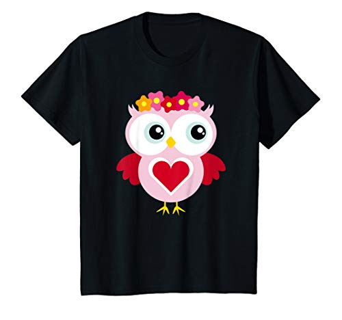 Kids Pink Owl Big Eyes Heart Toddler Girls & T Shirt Design (Uhu Owl)