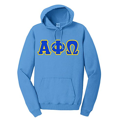 - Alpha Phi Omega Pigment-Dyed Lettered Hooded Sweatshirt Large Blue Moon