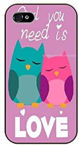 iPhone 4 / 4s Owl you need is love - black plastic case / Animals and Nature, owl, owls