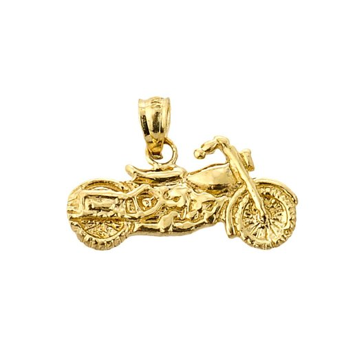 14k Yellow Gold Polished Charmed Motorcycle Charm Pendant