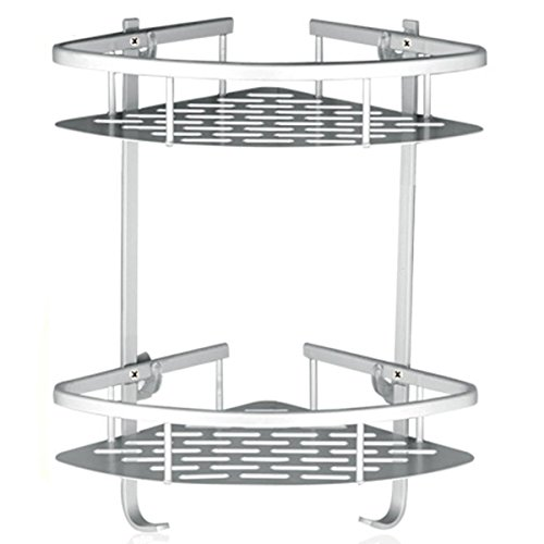 Lancher Bathroom Shelf (No Drilling) Durable Aluminum 2 Tiers Shower Shelf Kitchen Storage Basket Adhesive Suction Corner Shelves Shower Caddy ()