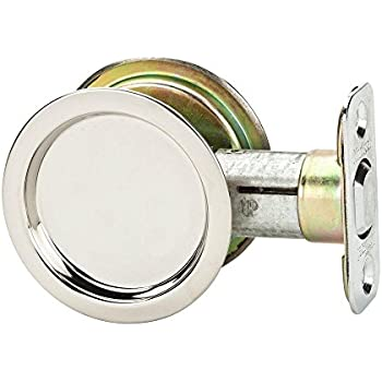 Kwikset 334 32 RND PCKT DR LCK Pocket Door Lock, Passage Function, Steel  Finish