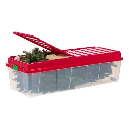 IRIS Holiday Tree Storage Tote with Compartment Lid, Red