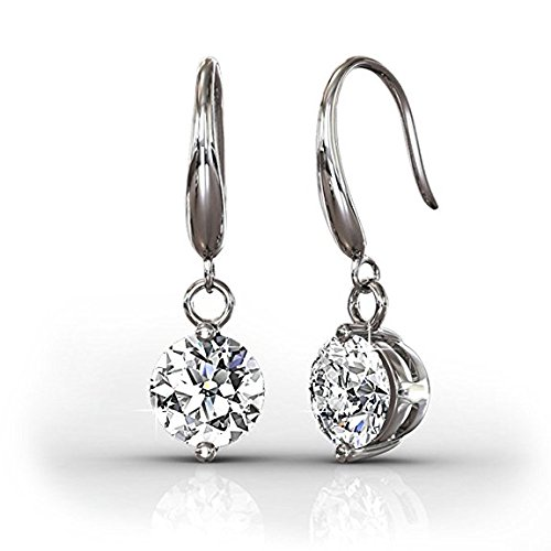 BELLE & LILY Drop Dangle Earrings 18K White Glod with Swarovski Element Crystal for Women Sparking Gift Christmas (18k Celtic Earrings)