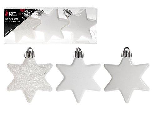 Confezione da 9 decorazioni per albero di natale bianco / gingillo - opaco, lucido e glitter - decorazioni natalizie Premier