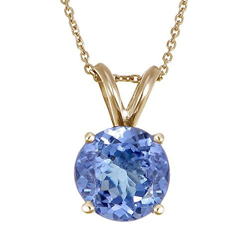 1.50 CT Tanzanite Pendant 14K Yellow Gold With 18 Inch Chain (Pendant 14k Tanzanite)