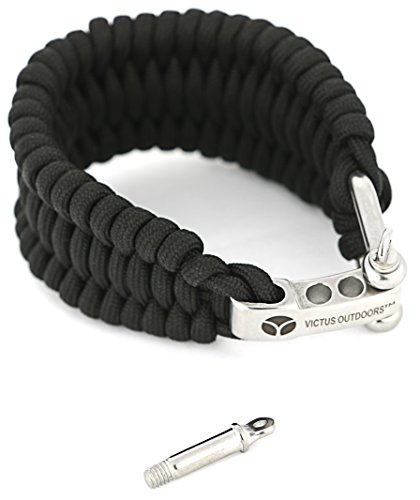 Victus Outdoors Paracord Bracelet, Black, 550+ Pound Tested, 7-Strand 2-Yarn, Triple Braid, 9 1/8 Long x 1.5 Inches Wide, Adjustable Stainless Steel Clasp Laser Engraved with Spare Stainless Pin (Paracord Triple)