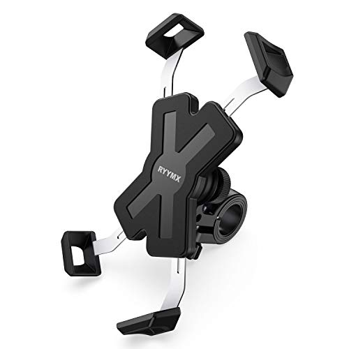 Bike Phone Mount – RYYMX Bicycle Phone Holder : 360° Rotation Adjustable Motorcycle Phone Mount for iPhone Xs Max XR X 8 7 6Plus, Samsung S10+ S9 S8 Note 10 9 8, GPS and 4″-7″ Android Cell Phones
