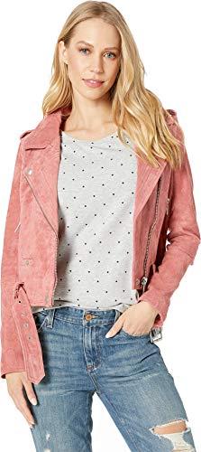 ([BLANKNYC] Women's Suede Moto Jacket Outerwear, Dusty Coral, S)