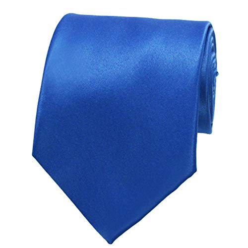 NEW SOLID ROYAL BLUE SATIN Mens Necktie Neck -
