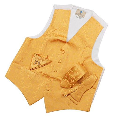 Mens Designer Gold Paisley Tuxedo Vest Set Match Necktie Cufflinks Bowtie Hanky Set for Suit Vs1001-M Medium Gold - Mens Jacquard Vest