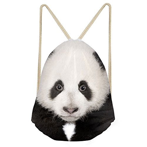 Showudesigns Funny Panda White Drawstring Backpack for Teenager Boy Girl School Book