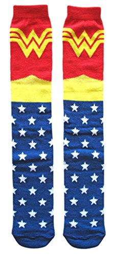 DC Comics Classic Wonder Woman Knee High Socks Shoe Size 4-10 (Shoe: -