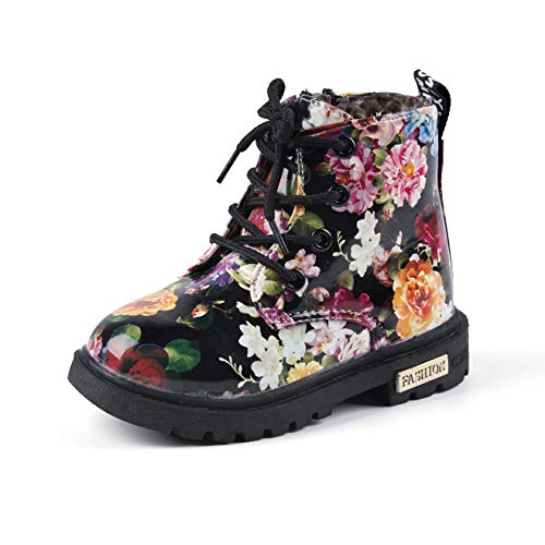 Comfy Kids Girls Casual Combat Shoes Ankle Boots Floral British Style Martin Boots Kids Warm Snow Boots