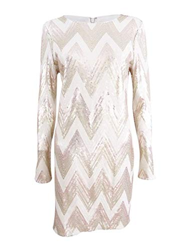 - VINCE CAMUTO Women's Sequined Mini Bodycon Dress (4, Ivory/Gold)