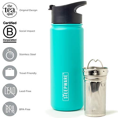 (The Tea Spot, Double-Walled Mountain Tea Tumbler, Insulated Stainless Steel Tumbler with removable tea infuser for hot and cold brewing, Water infuser (Turquoise Lake, 16 oz))