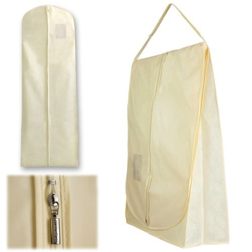 """Ivory 72"""" Wedding Dress Travel Carry Cover - Superb Protection When Transporting Bridal Wear & Gowns - Showerproof & Breathable"""