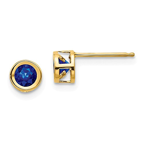 14k Yellow Gold Sapphire Post Stud Earrings September Birthstone Bezel Gemstone Fine Jewelry Gifts For Women For Her Drop Single Stone Post Earrings