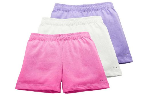 Sparkle Farms Girls Tagless Cotton Under Dress Shorts, 3-pack, Pink/White/Lilac, Size 4