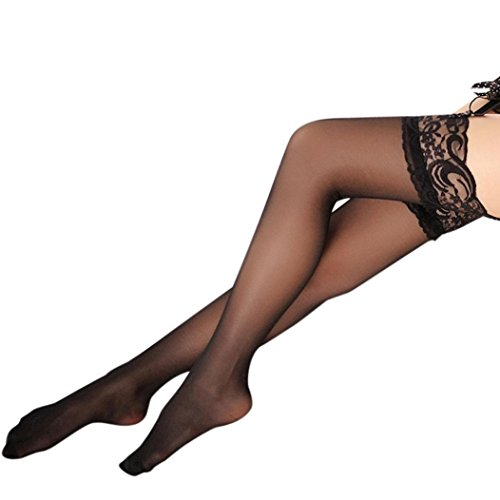 Hosiery Tights Stripe Sexy (NEWONESUN Sexy Sheer Lace Thigh High Stockings Hosiery Nets (Black))
