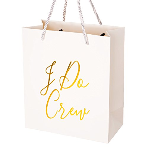 Crisky I Do Crew Gift Bag, Bridesmaid Gift Bags, Loot Bag, Bachelorette Party Bag, Hen Party Bag, Bridal Shower, Team Bride, Set of 12, 4