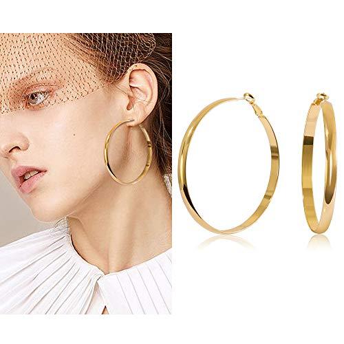 shownii Large Big Thick Gold Hoop Earrings 60mm 14k Gold Wide Hoops Earrings Stud for Women Girls ()