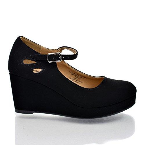 Sully's Soda Tyleeiis Black Children's Almond Toe Mary Jane Platform Cut Out Dress Wedge Heel,Black,13