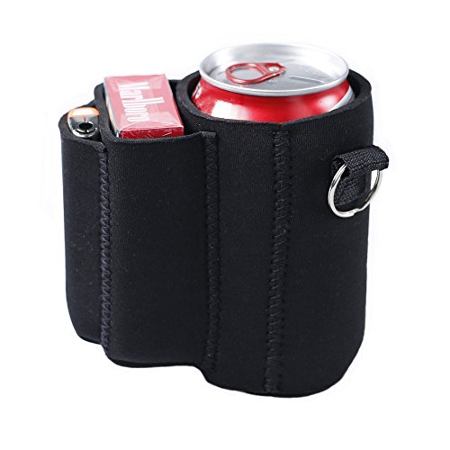 Neoprene Can Holder (Can with Cigarette and Lighter Holder Slim Can Sleeves Neoprene Beverage Coolers (Black))