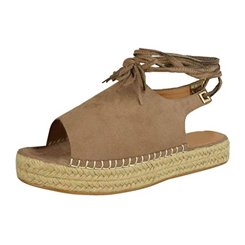(◕‿◕Watere◕‿◕ Summer Women's Wedge Sandals Plus Size Fashion Ankle Strap Thick Bottom Flats Platform Retro Peep Toe Shoes Beige)