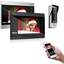 TMEZON 7 Inch Wireless/WiFi Smart IP Video Door Phone Intercom System Doorbell Entry 2 Montior with 1200TVL Wired Doorbell Camera Night Vision,Support Smartphone Remote Unlock, Record,Snapshot