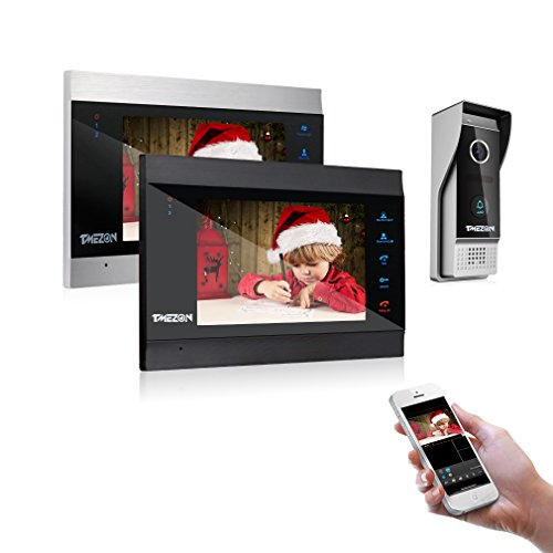 TMEZON 7 Inch Wireless/Wifi Smart IP Video Door Phone Intercom System Doorbell Entry 2 Montior with 1200TVL Wired Doorbell Camera Night Vision,Support Smartphone Remote unlock, Record,Snapshot