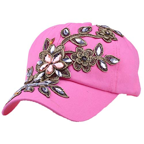 Women's Glittered Rhinestone Baseball Caps Fashion Lace Flower Bling Sparkle Hip Hop Snapback Hats Trucker Hat Sport Sun Cap Pink